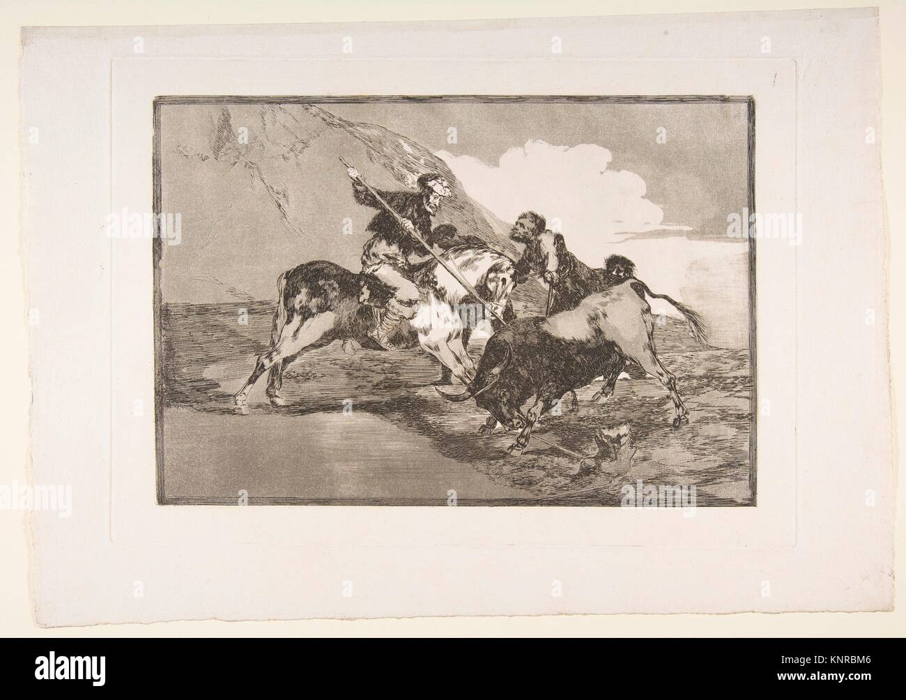 Plate 1 from 'The Tauromaquia': The way in which the ancient Spaniards hunted bulls on horseback in the - Stock Image