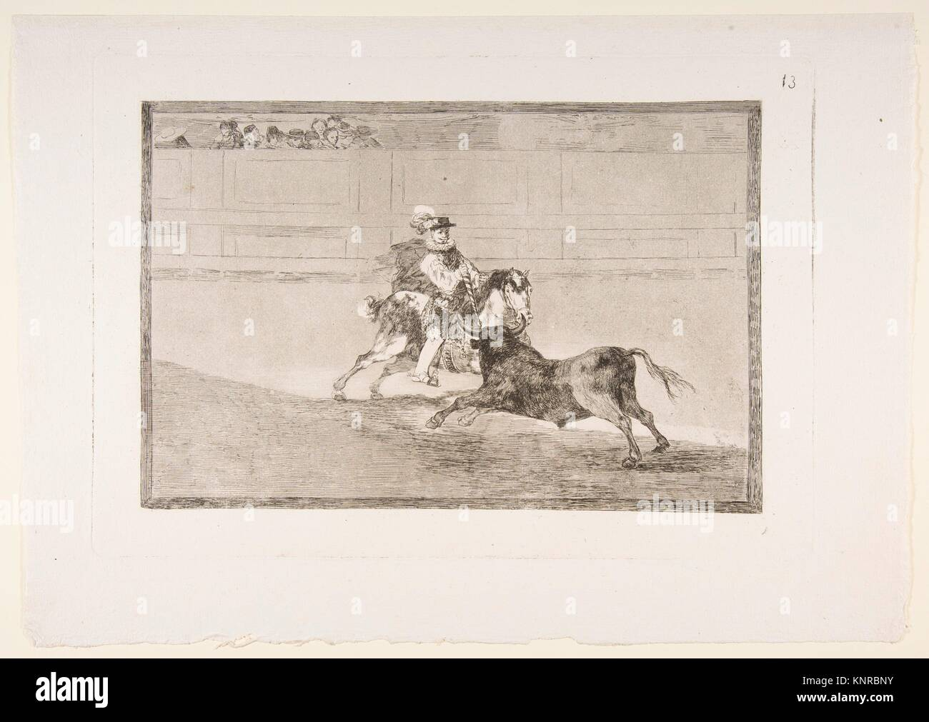 Plate 13 of the ´Tauromaquia´: A Spanish mounted knight in