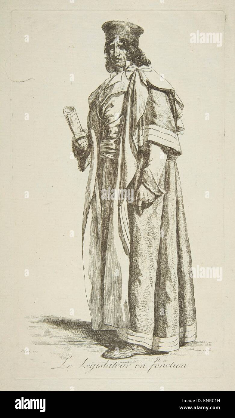 The Legislator in Office. Series/Portfolio: Projets de Costumes; Artist: After Jacques Louis David (French, Paris - Stock Image