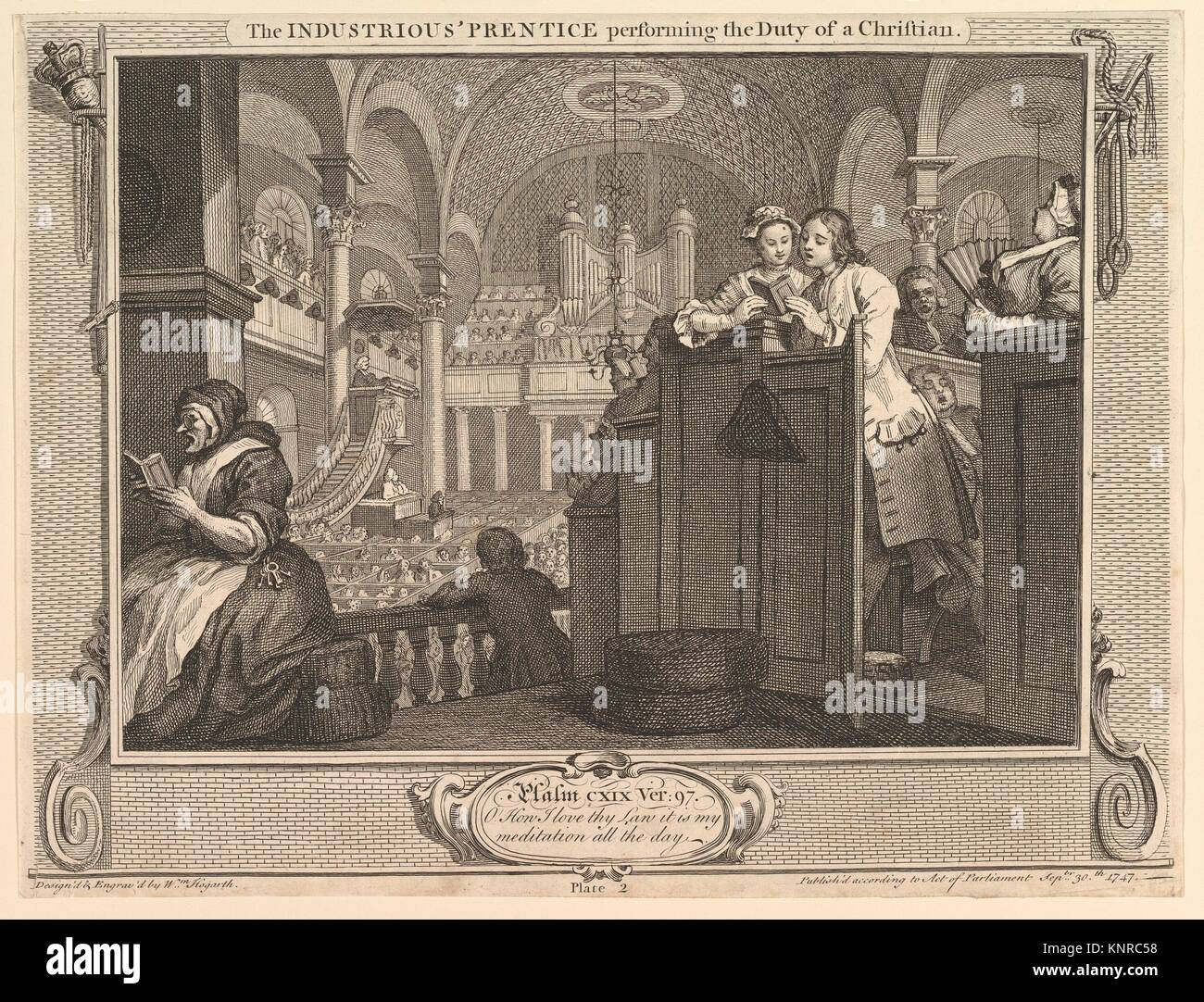 The Industrious 'Prentice Performing the Duty of a Christian: IIndustry and Idleness, plate 2. Artist: William - Stock Image