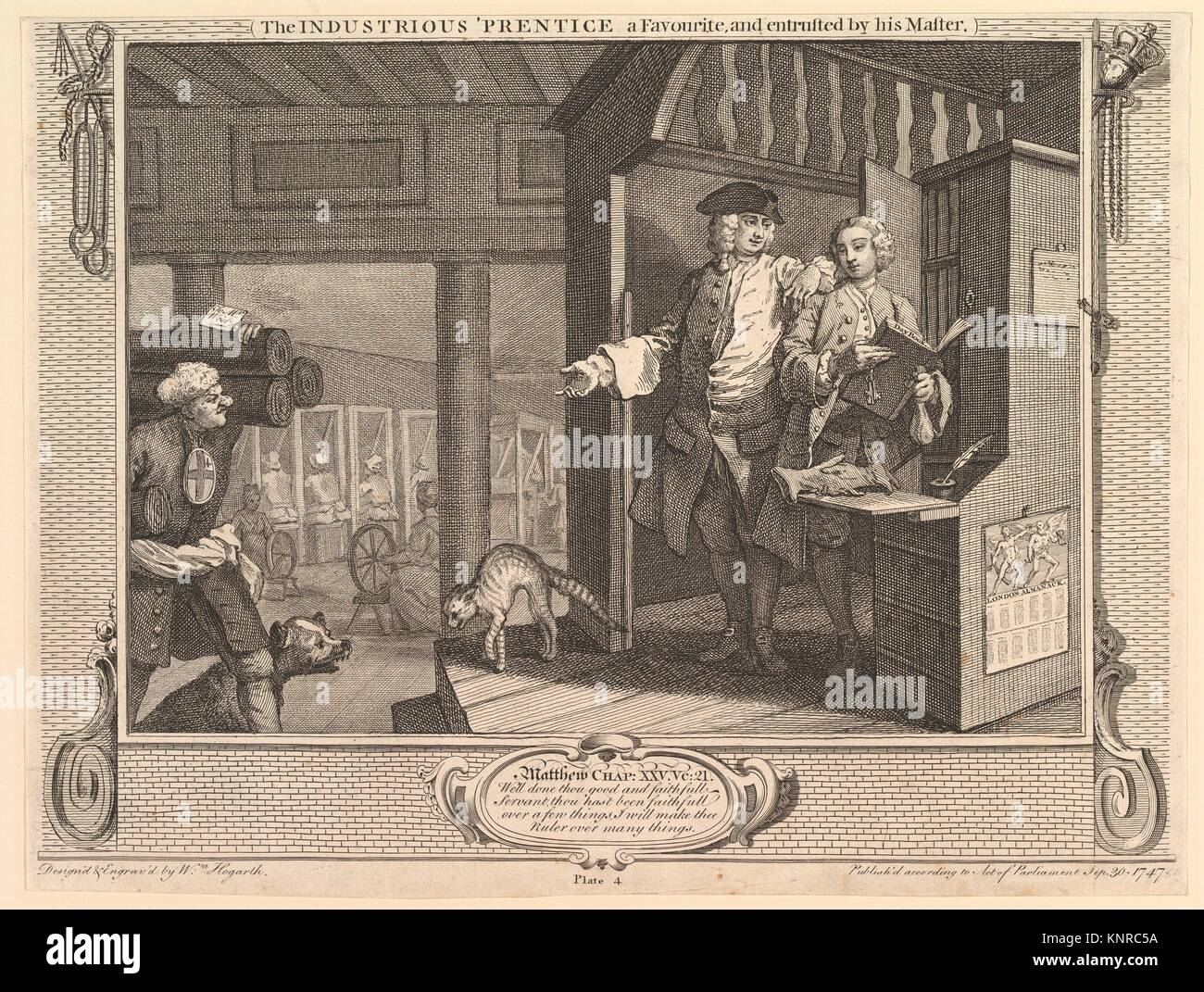 The Industrious 'Prentice a Favorite, and Entrusted by his Master: Industry and Idleness, plate 4. Artist: William - Stock Image