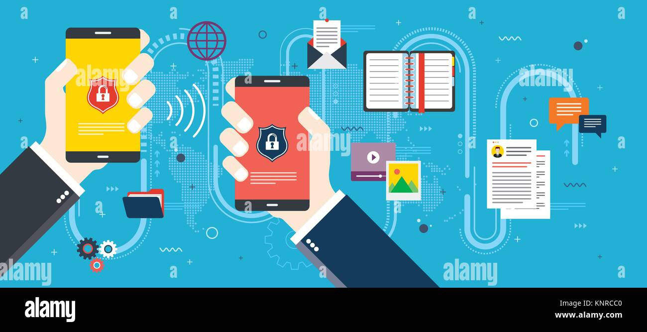 Hands holding smart phone with invasion protection and access to private data. Security and privacy of mobile phone. - Stock Vector