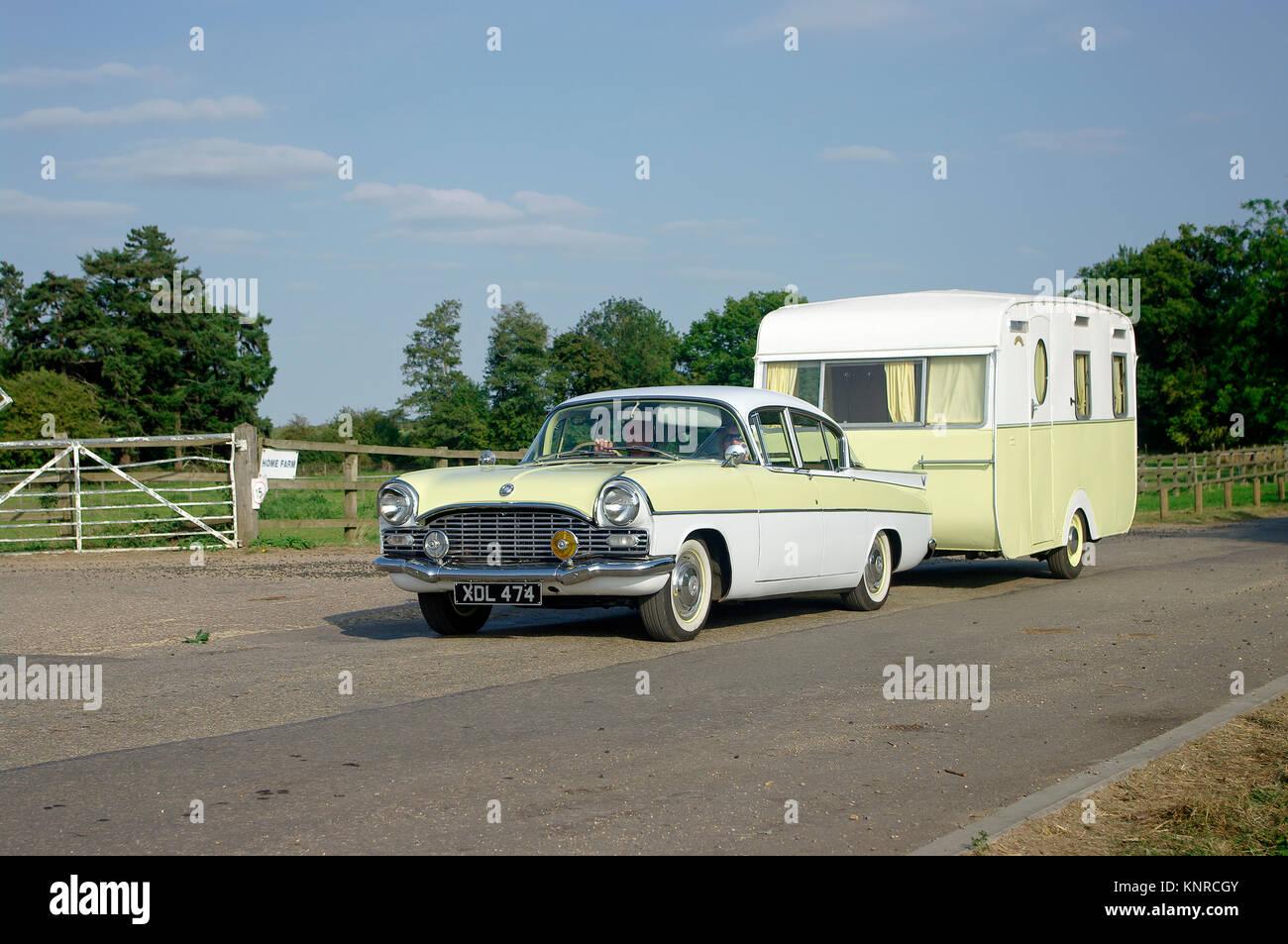 1962 Vauxhall Cresta motor car with caravan - Stock Image