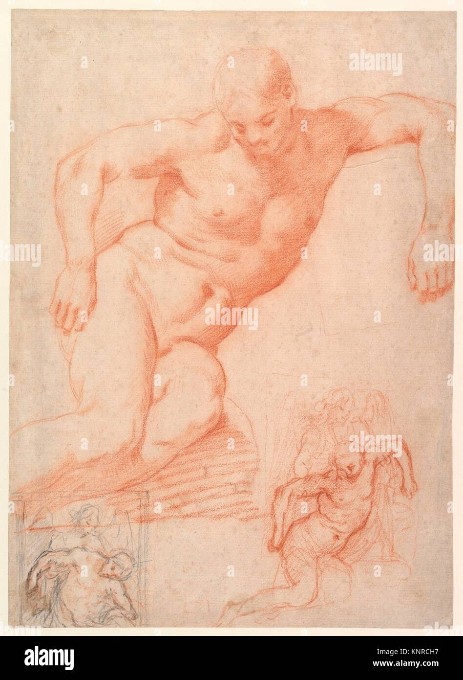 Studies of the Dead Christ supported by an Angel, with subsidiary studies for the same composition. Artist: Poppi - Stock Image