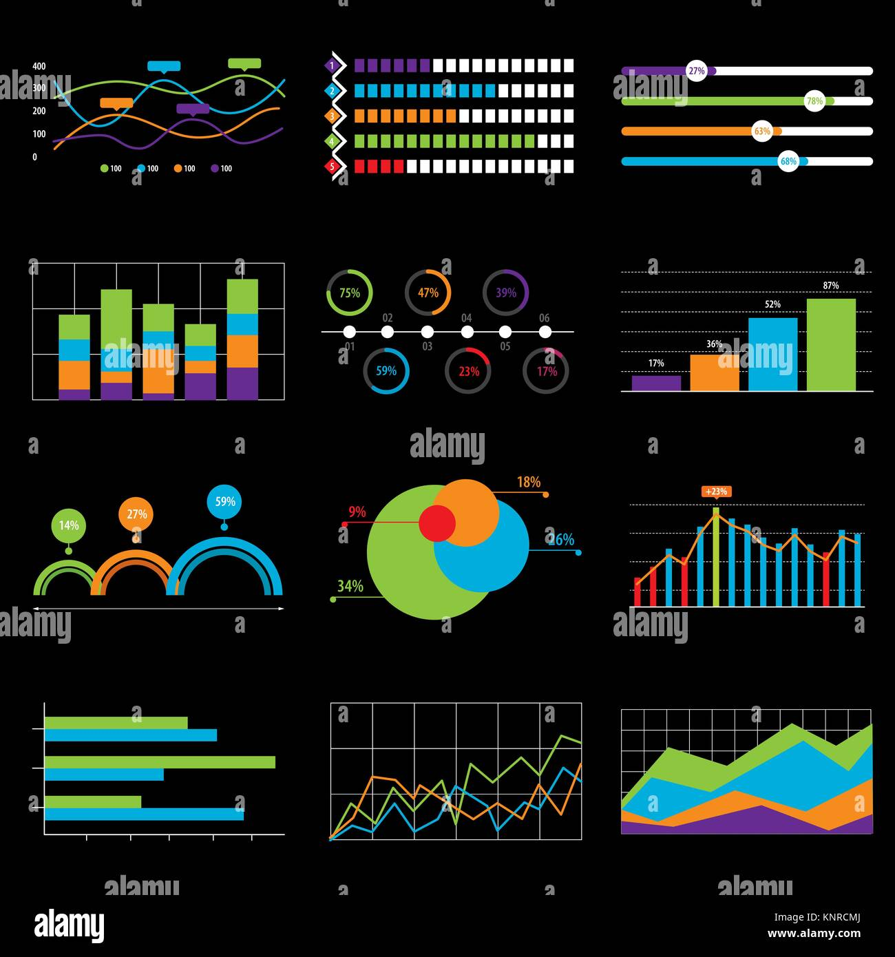 Business chart and graph data market. Elements bar pie charts diagrams and graphs flat icons in vector illustration. - Stock Image