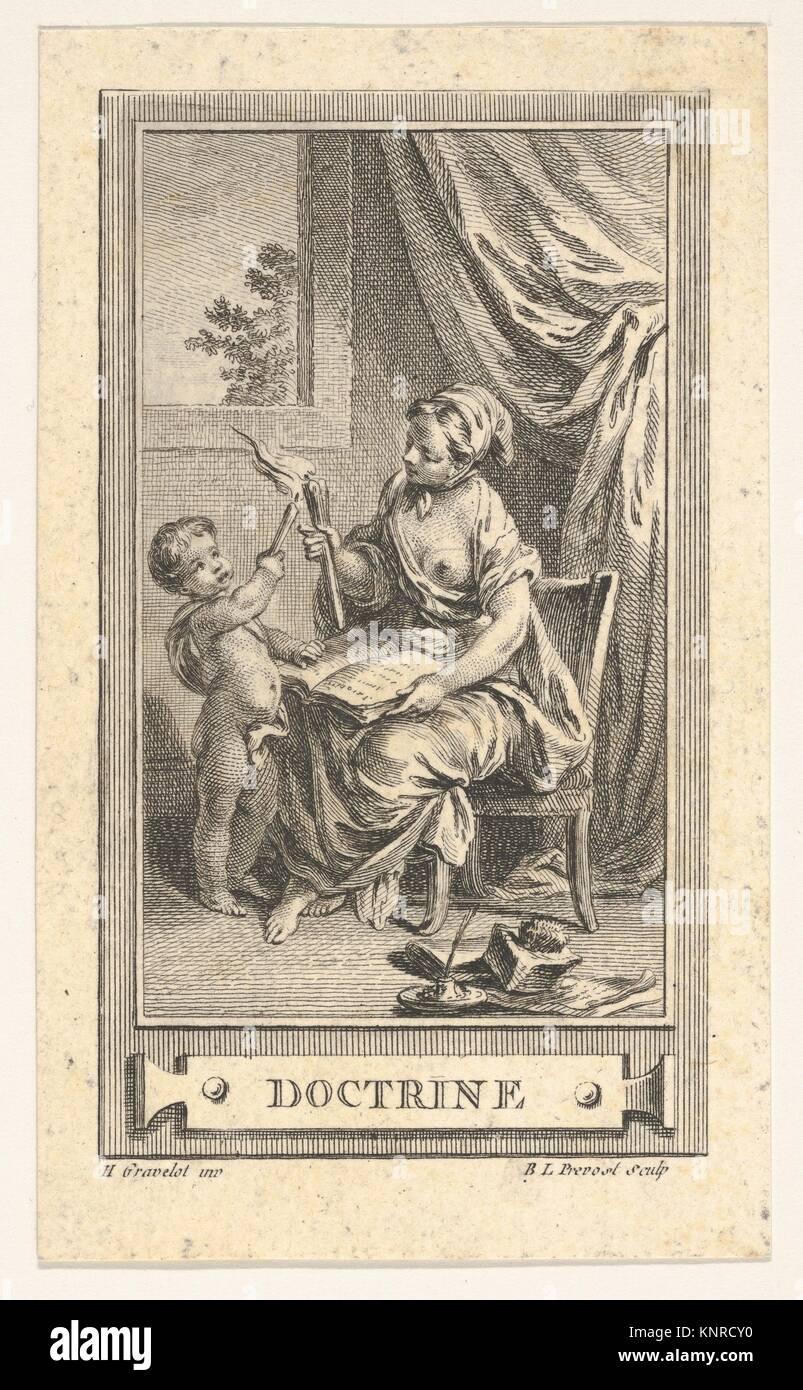 Doctrine. Artist: After Hubert François Gravelot (French, Paris 1699-1773 Paris); Date: 18th century; Medium: Etching Stock Photo