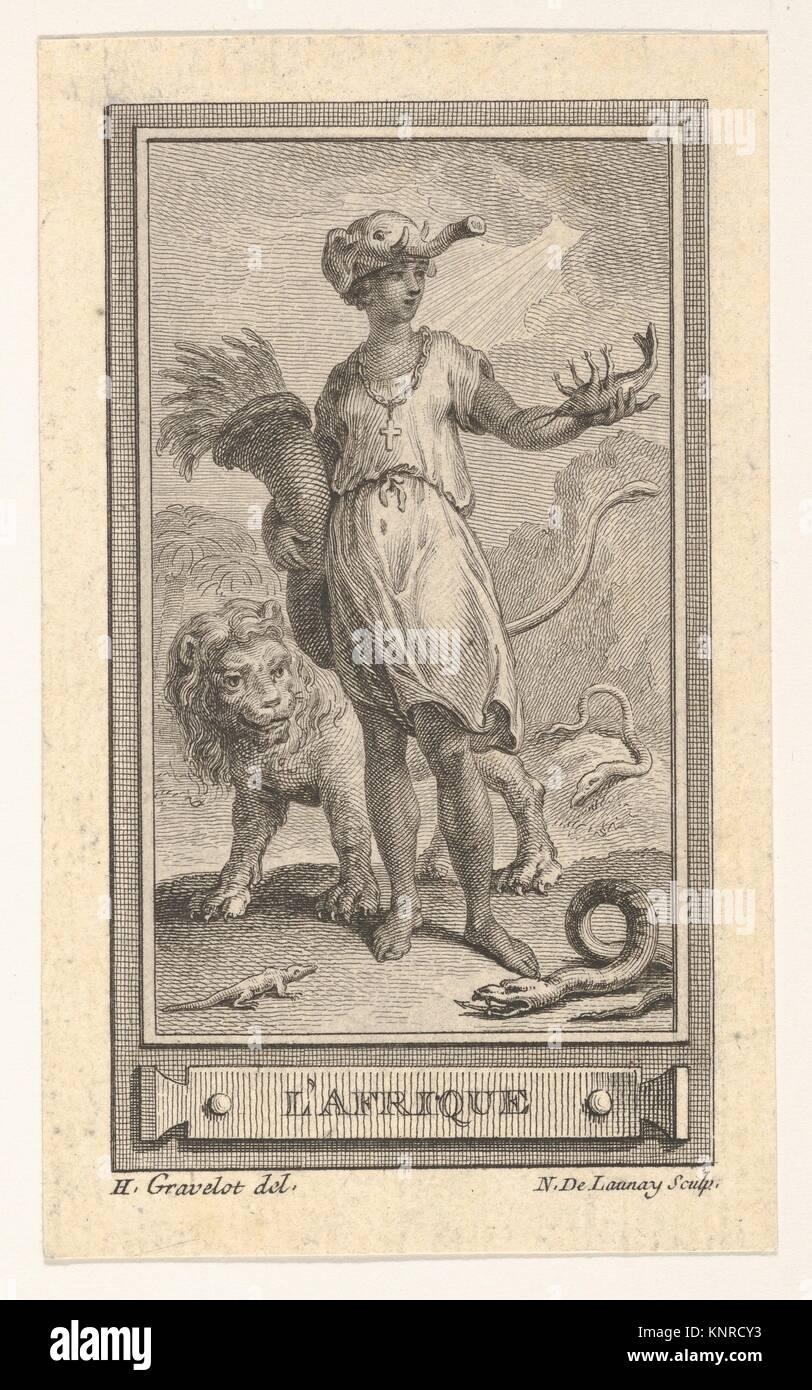 L'Afrique. Artist: After Hubert François Gravelot (French, Paris 1699-1773 Paris); Date: 18th century; - Stock Image