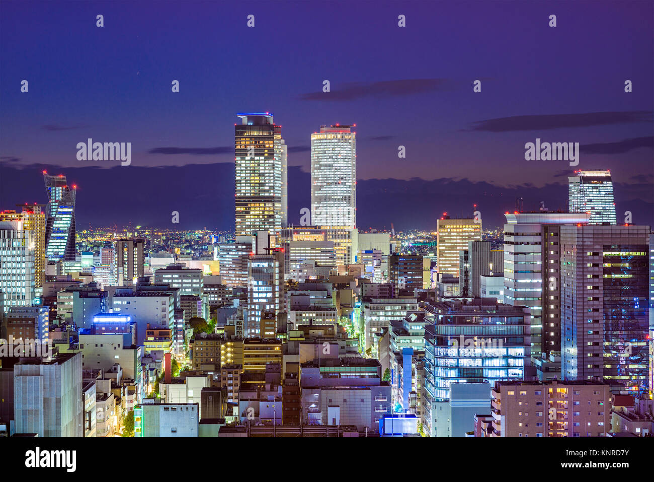 Nagoya, Aichi, Japan city skyline at night. - Stock Image