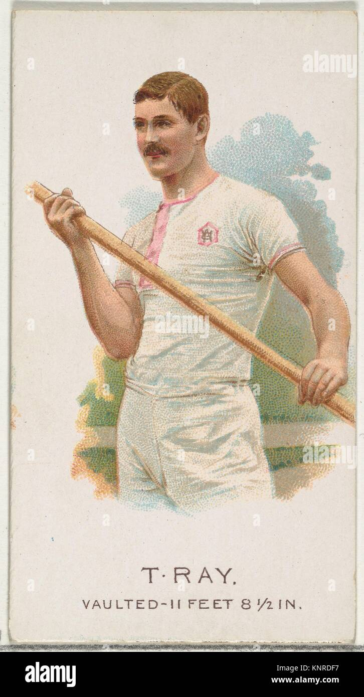 T. Ray, Pole Vaulter, from World's Champions, Series 2 (N29) for Allen & Ginter Cigarettes. Publisher: Allen - Stock Image