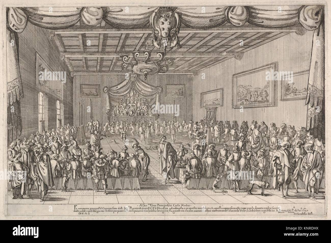 Banquet of the Piacevoli, various men are seated at long tables around the perimeter of a large room, a man seated - Stock Image