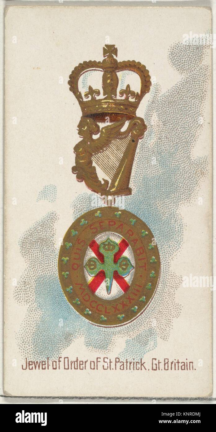 Jewel of the Order of St. Patrick, Great Britain, from the World's Decorations series (N30) for Allen & - Stock Image