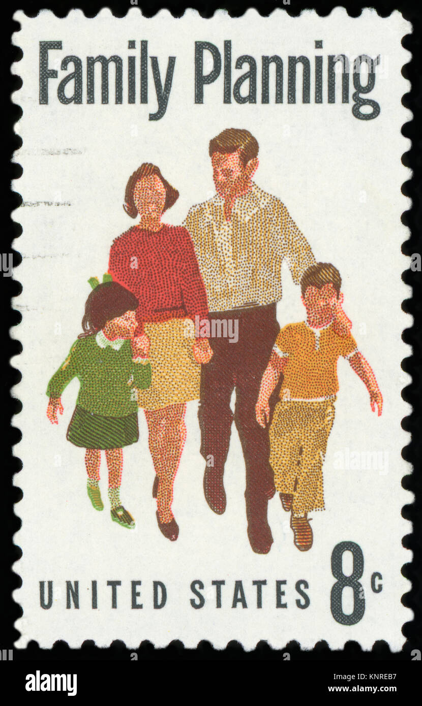 UNITED STATES OF AMERICA - CIRCA 1967: A used postage stamp from the USA depicting a message of Family Planning, - Stock Image