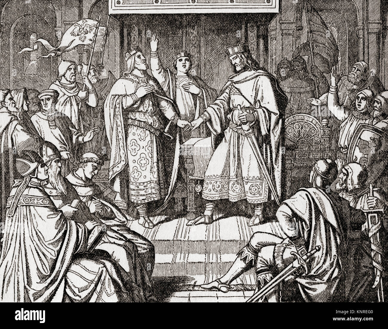 The Treaty of Verdun, signed in August 843 by Lothair I, Louis the German and Charles the Bald.  First of the treaties - Stock Image