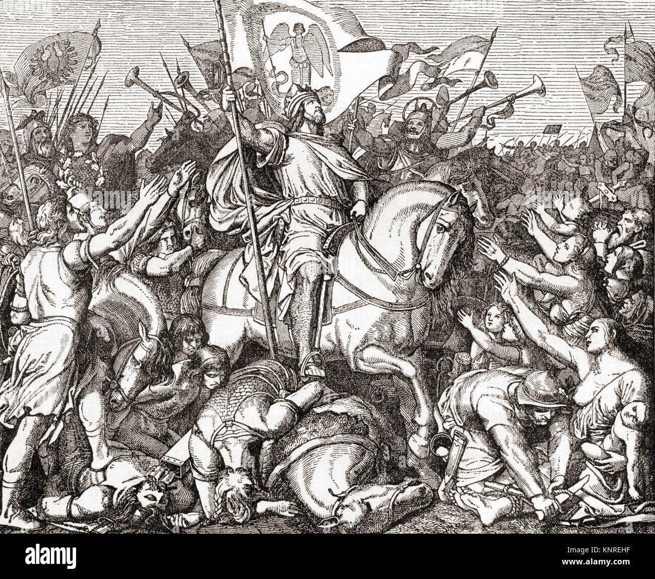 Henry I after The Battle of Riade aka Battle of Merseburg, Germany, 933.  Henry the Fowler, aka Henry I, 876 – 936. - Stock Image