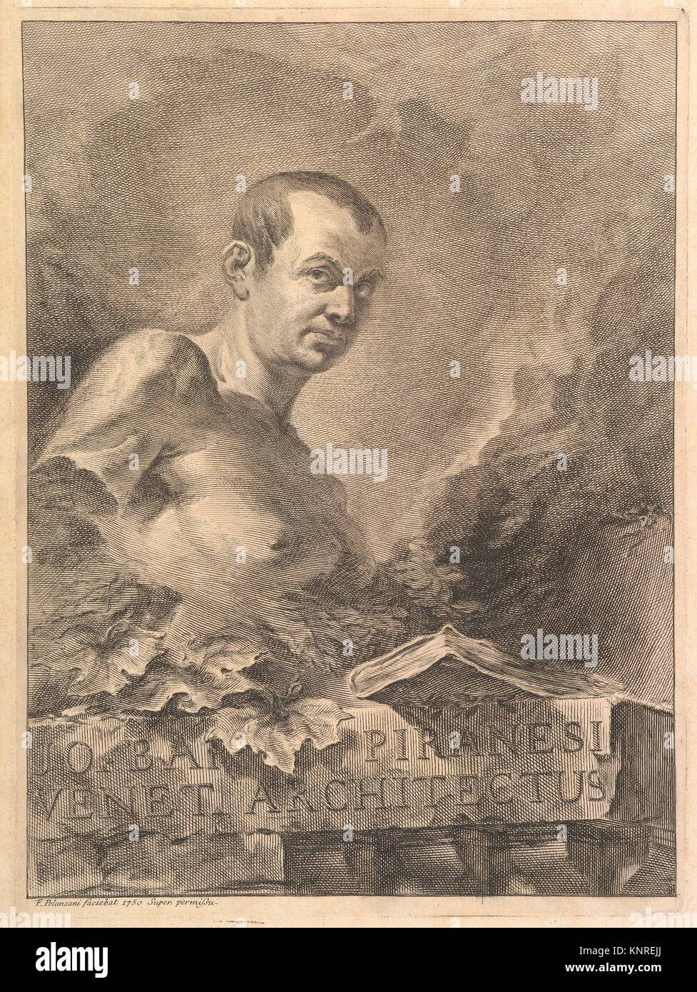 Portrait of G.B. Piranesi in imitation of an antique bust, from Opere varie di Architettura, prospetive, grotteschi, - Stock Image