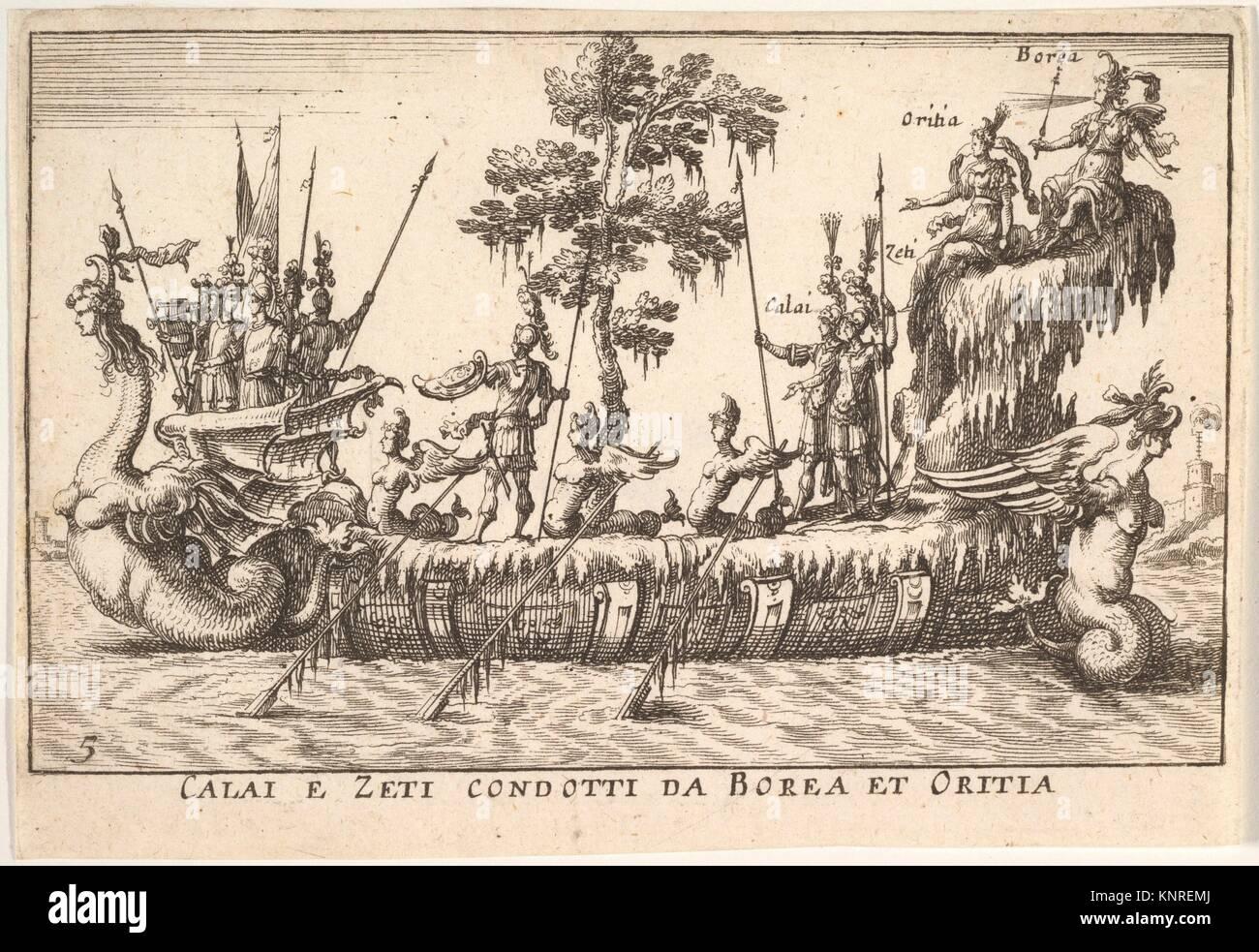 Calais and Zetes led by Boreas and Oreithyia (Calai e Zeti condotti da Borea et Oritia), with female-headed sea Stock Photo