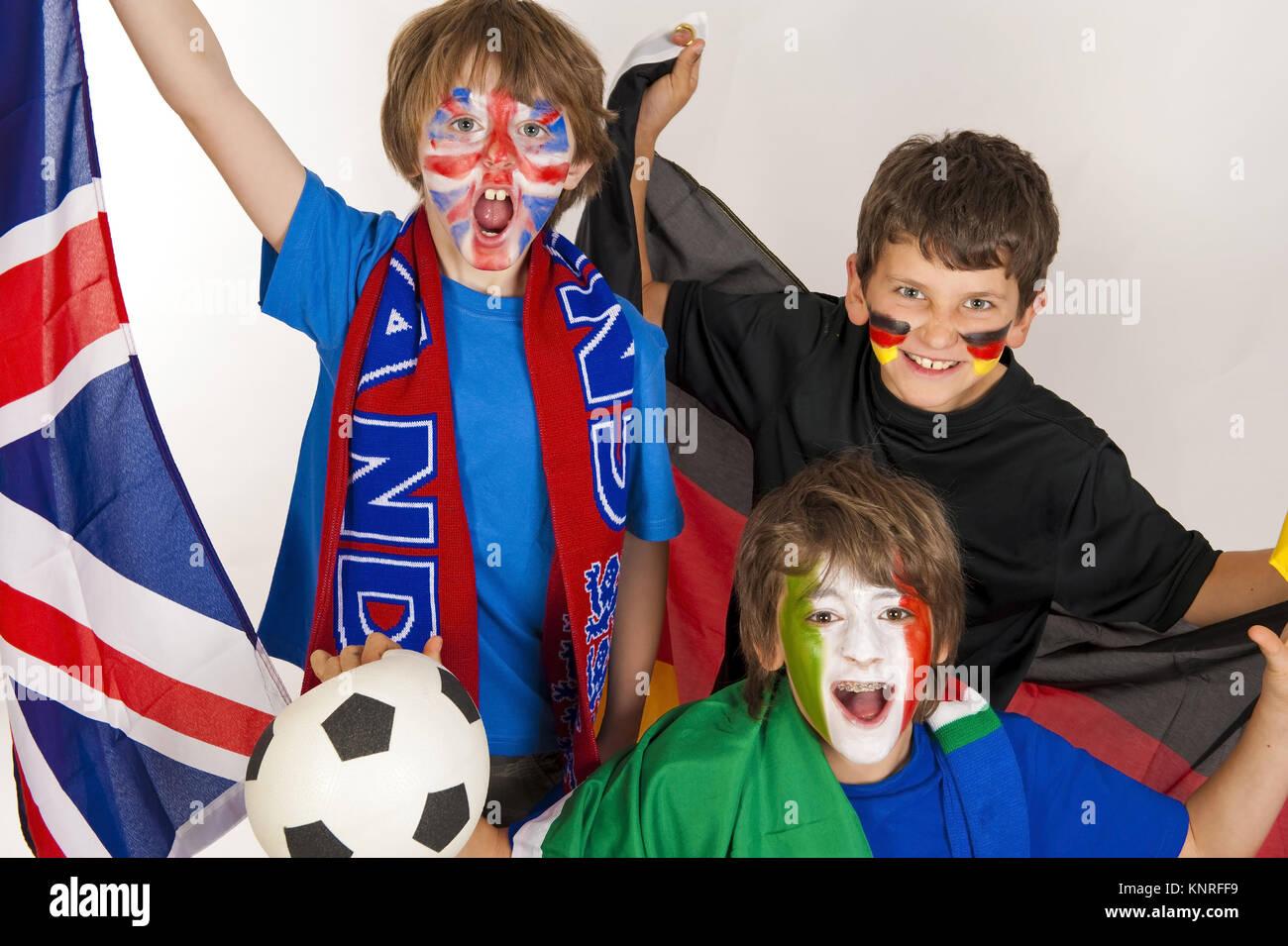 Fussballfans aus verscheidenen Laendern - Stock Image