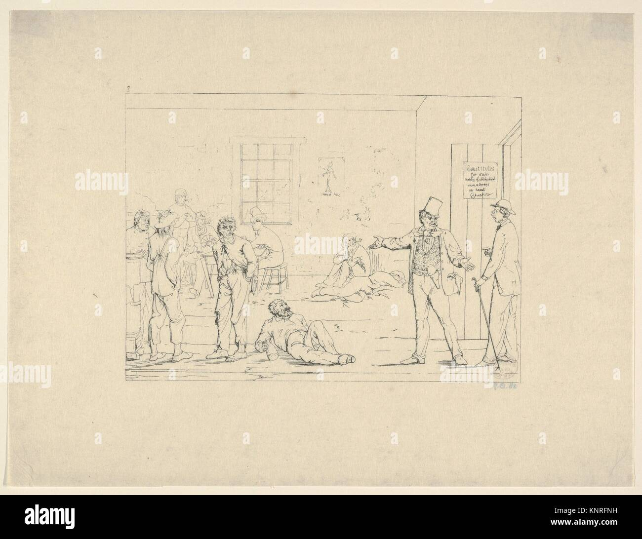 Buying a Substitute in the North during the War (from Confederate War Etchings). Artist: Adalbert John Volck (American - Stock Image