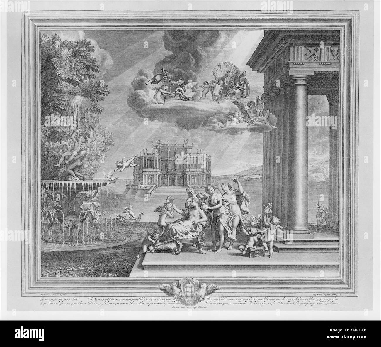 Plate 1: The Toilette of Venus; Venus reclining at center, gazing into a mirror held by Cupid, attendants fix her - Stock Image