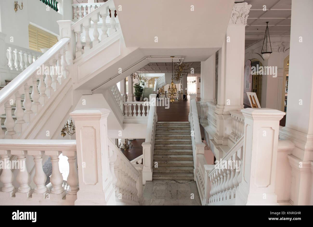 raffles hotel, singapore, stairway - Stock Image