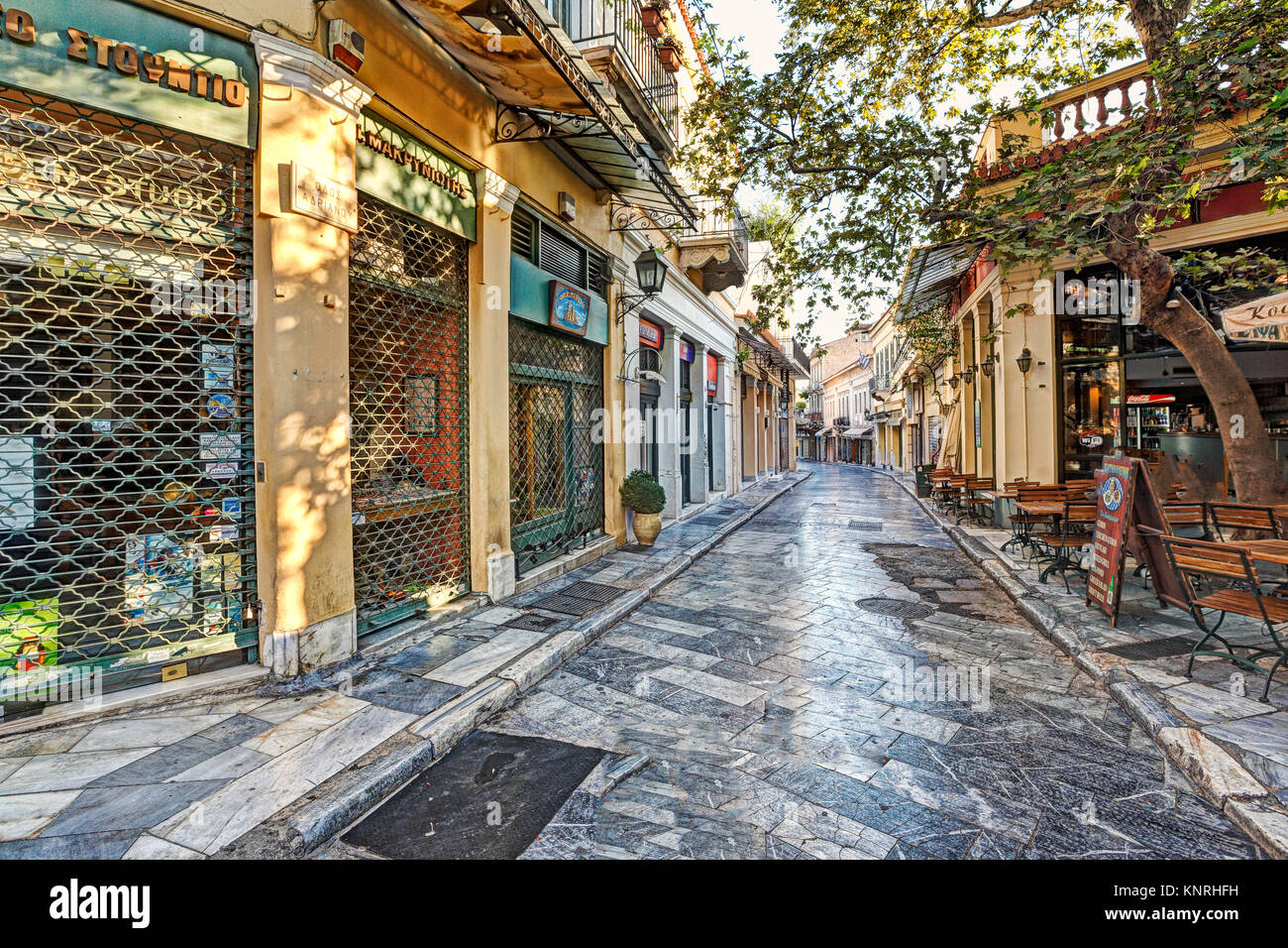 The picturesque buildings of Plaka in Athens, Greece - Stock Image