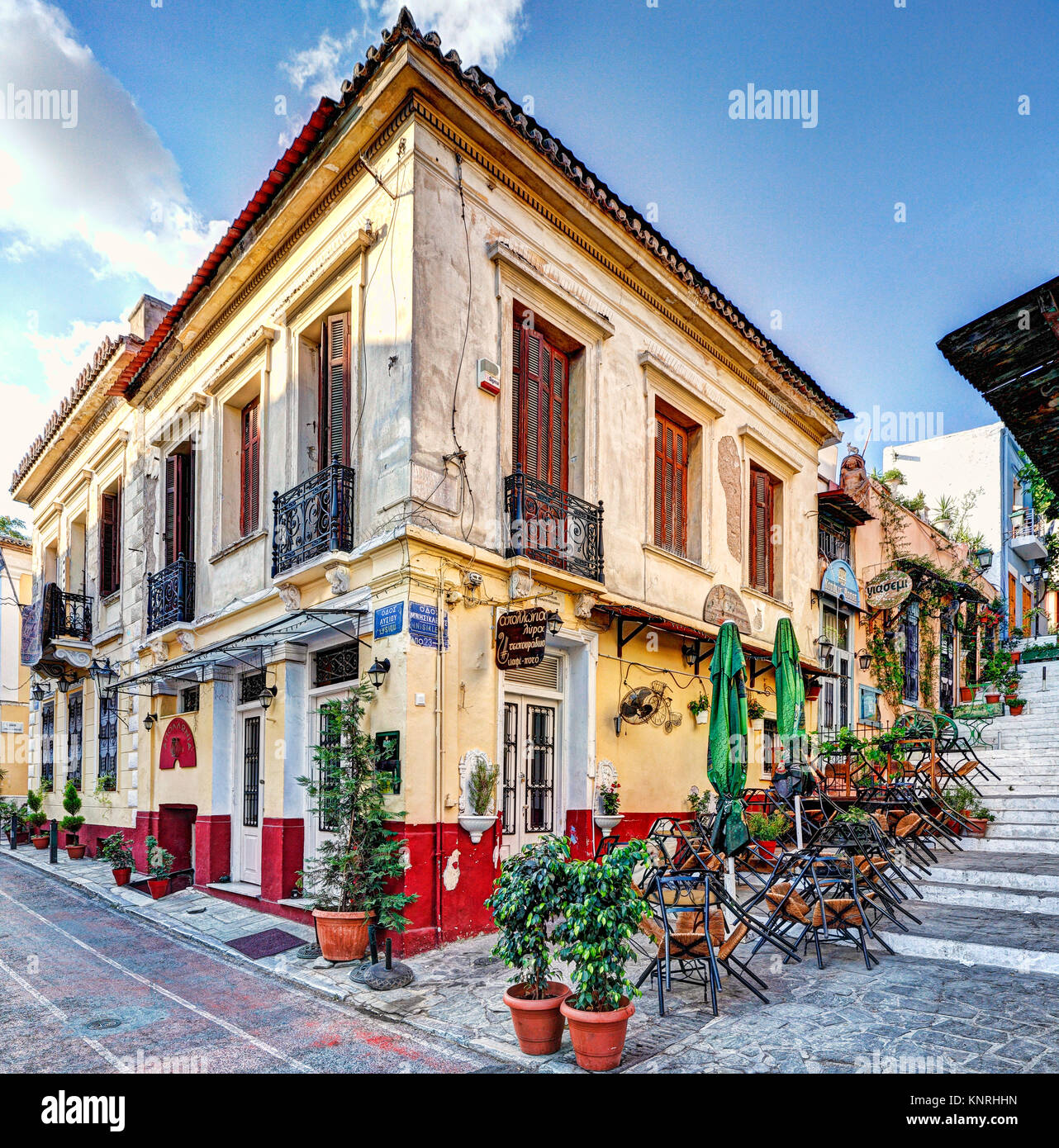 A picturesque cafe of Plaka in Athens, Greece - Stock Image
