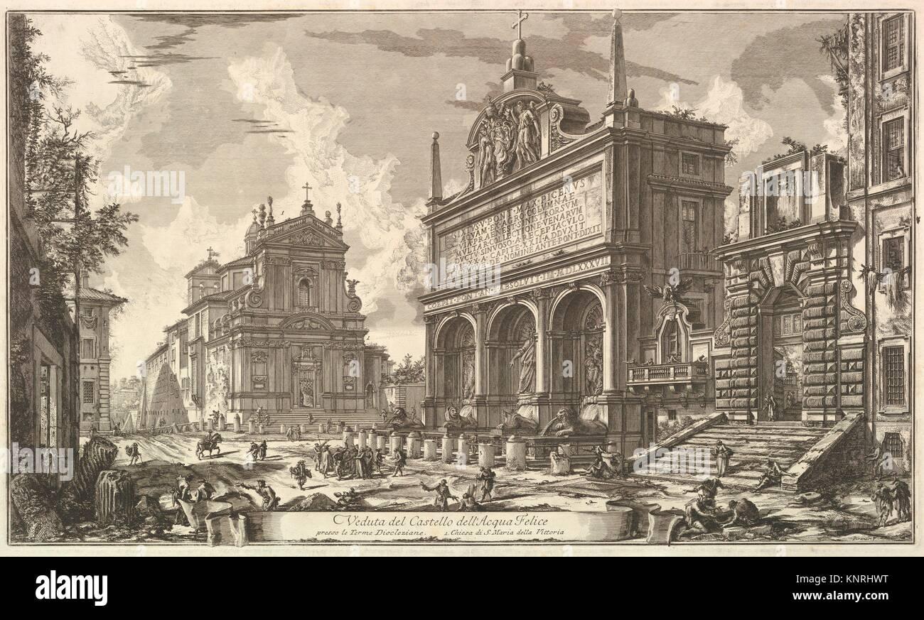 View of the Fountainhead of the Acqua Felice., from Vedute di Roma (Roman Views). Series/Portfolio: Vedute di Roma; - Stock Image