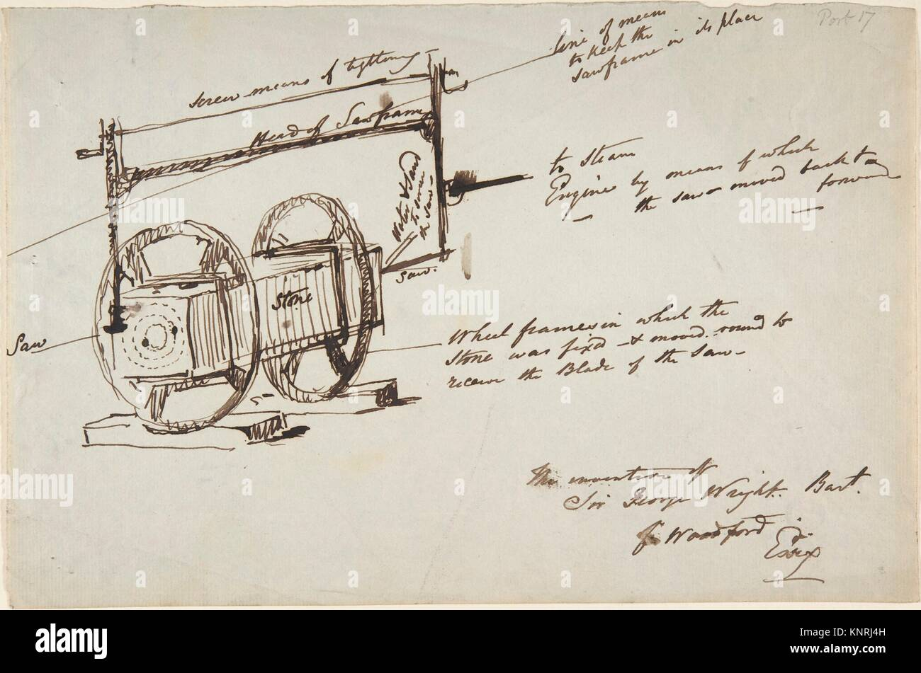 Sketch of a stone drill and saw. Artist: Sir George Wright (British, Leeds 1860-1942); Date: late 19th-mid-20th - Stock Image