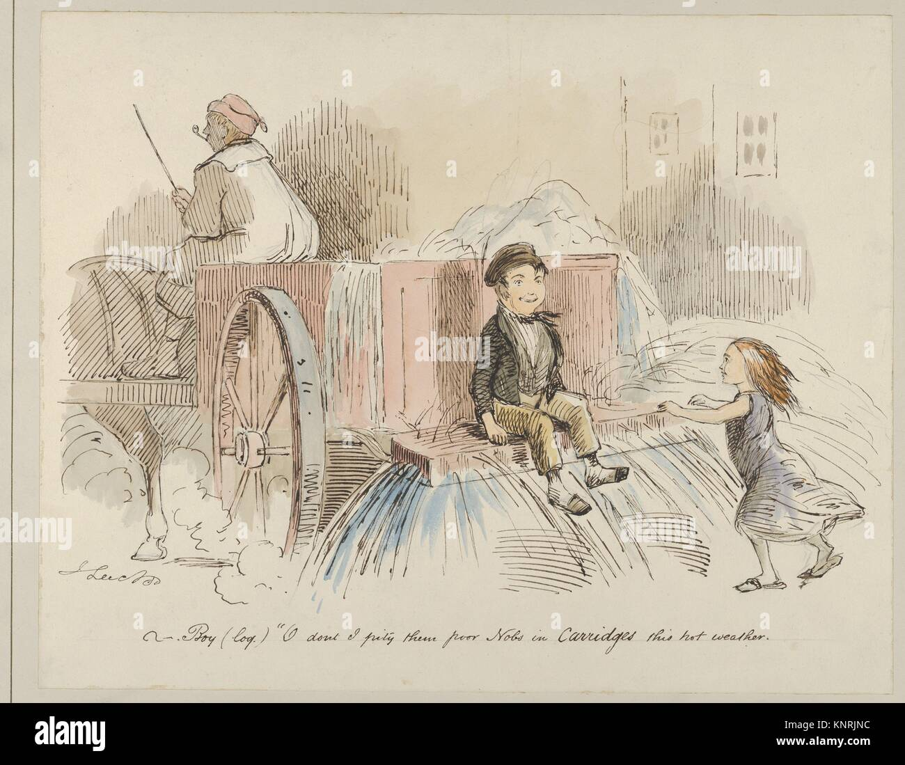 Boy (loq.) O don't I pity them poor Nobs in Carriages this hot weather. Artist: John Leech (British, London 1817 Stock Photo