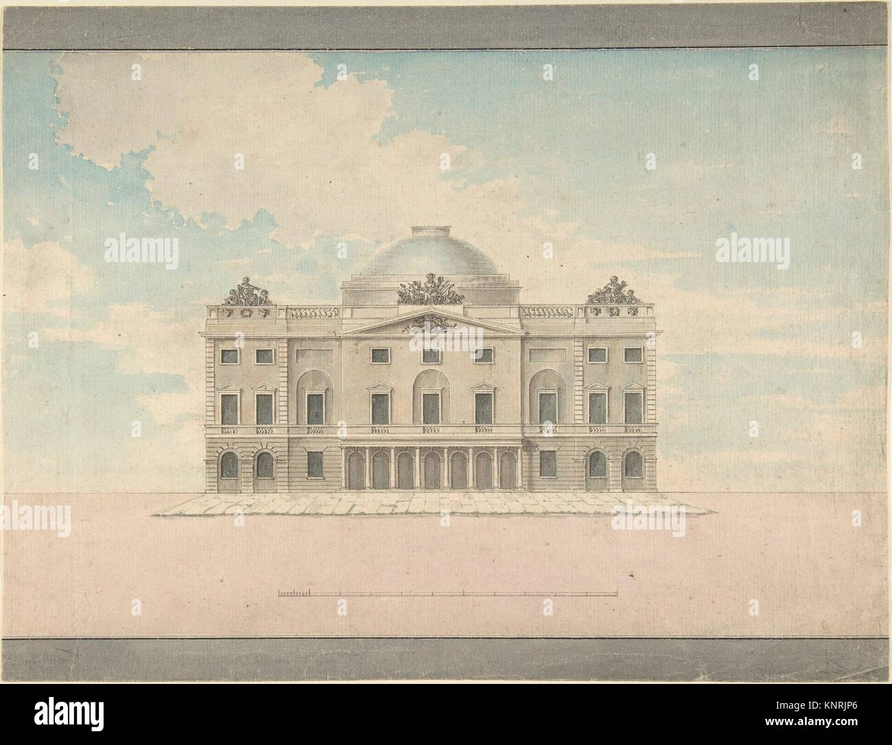 Design for the Facade of a Theater (Perspective). Artist: Charles Middleton (British, 1756-1818); Date: late 18th - Stock Image