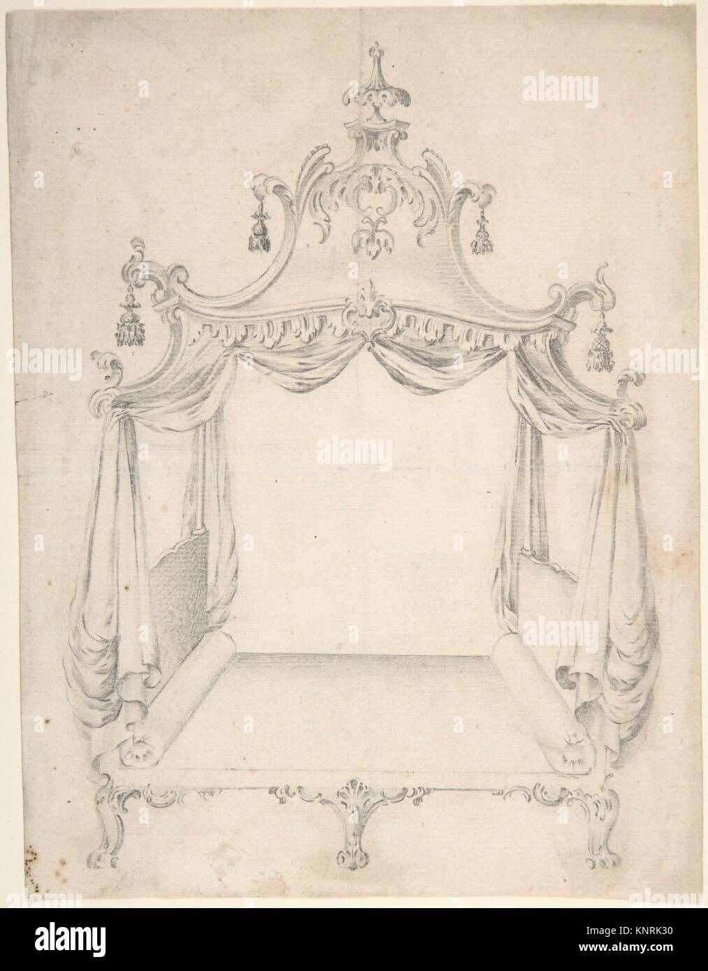 Design for a Four-poster Bed with Hangings. Artist: Anonymous, British, 18th century; Date: 18th century; Medium: - Stock Image