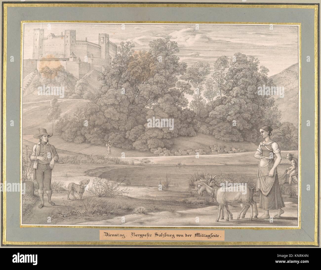 Sieben Gegenden aus Salzburg und Berchtesgaden Geordnet nach den sieben Tagen der Woche, verbunden durch zwey allegorische - Stock Image