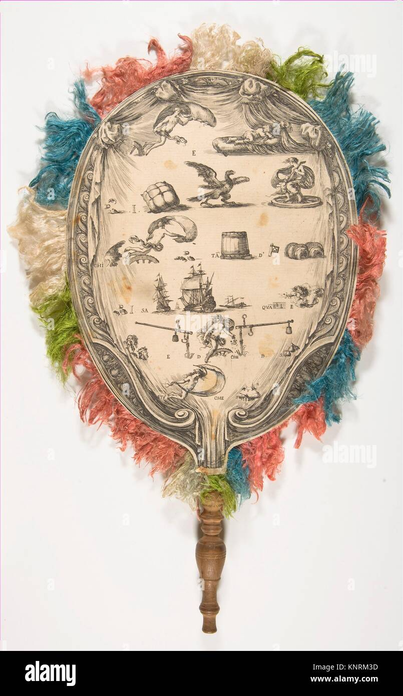 A fan with a rebus on Love on one side Fortune on the other. Artist: Stefano della Bella (Italian, Florence 1610 - Stock Image