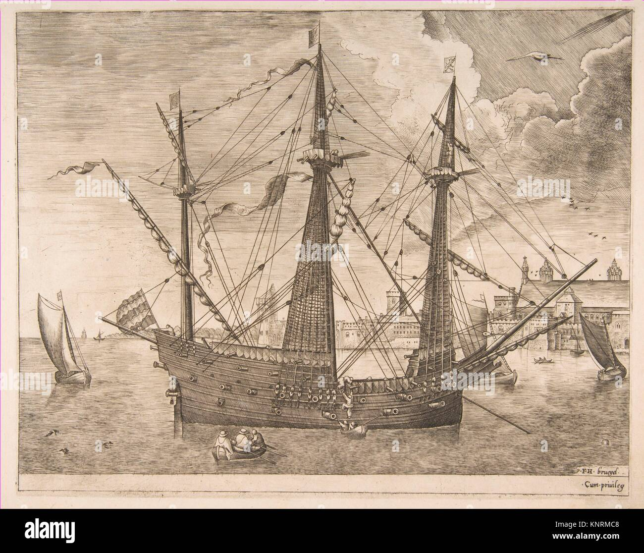 Armed Three-Master Anchored Near a City from The Sailing Vessels. Artist: Frans Huys (Netherlandish, 1522-1562); - Stock Image