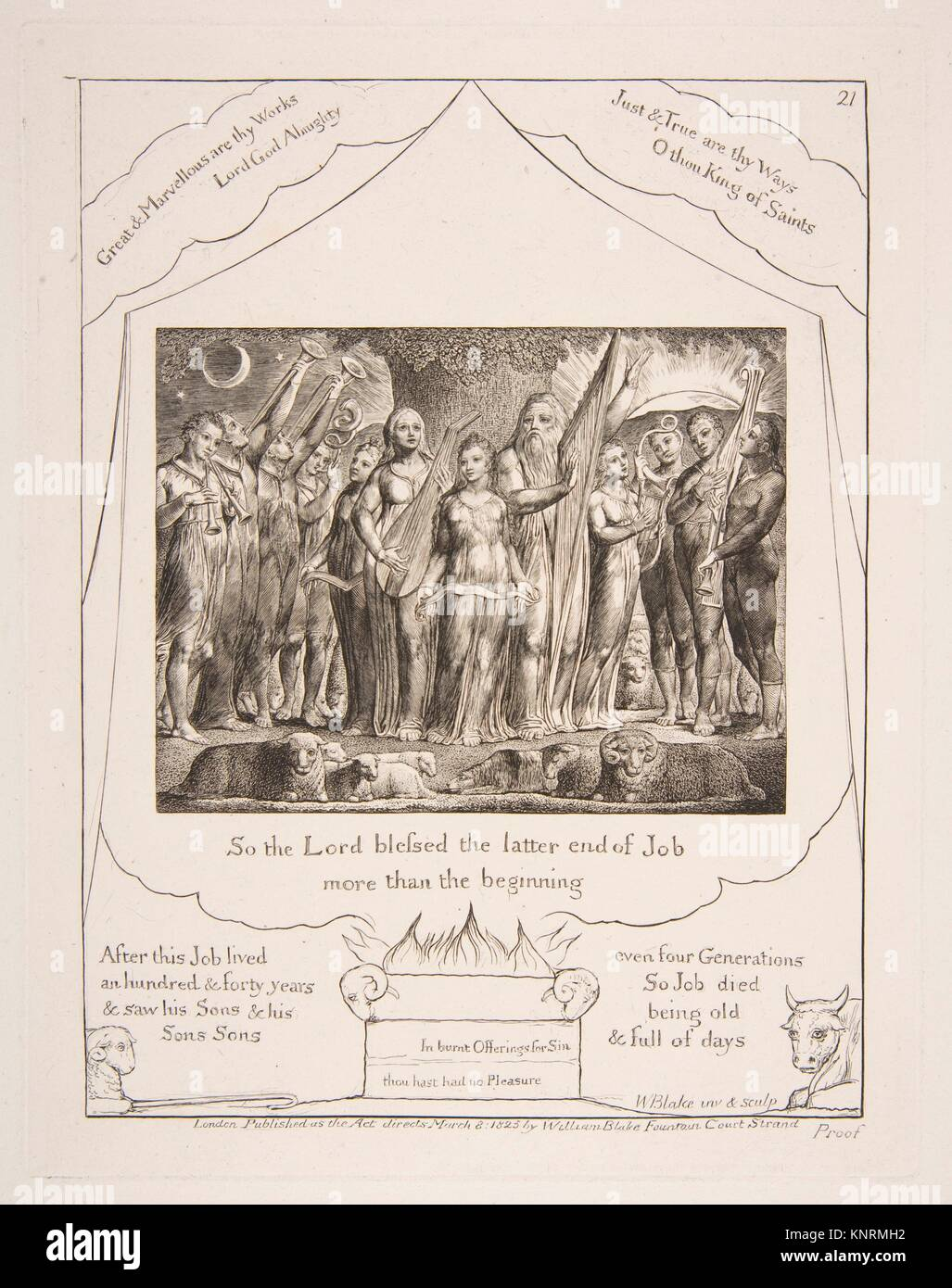 Job and his Wife restored to Prosperity, from Illustrations of the Book of Job. Artist: William Blake (British, - Stock Image