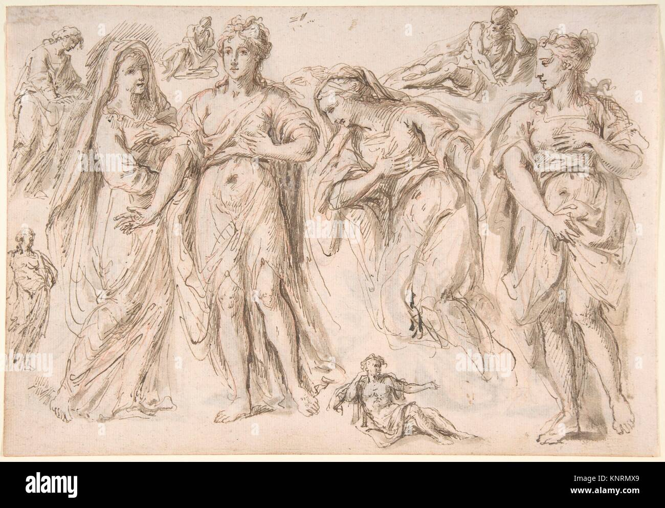 Studies of draped female and male figures; verso: Studies of draped female figures. Artist: Bartholomaeus Ignaz - Stock Image