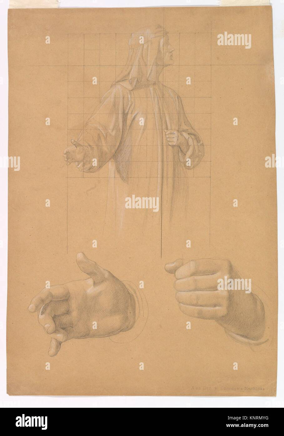 Study of a Standing Man with Headcloth and Two Studies of his Hands. Artist: Wilhelm Schadow (German, Berlin 1788 - Stock Image