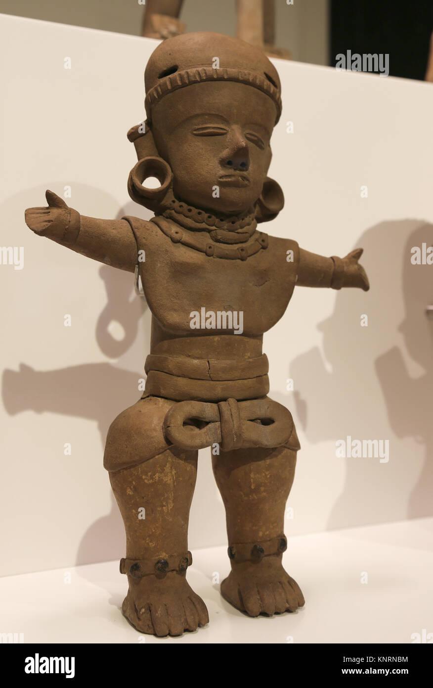 Mesoamerica. Female figure. Veracruz. Gulf of Mexico. 300-900 BC. Mexico. Museum of Cutures of the World. Barcelona. - Stock Image
