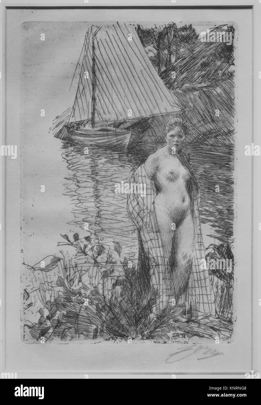 My Model and My Boat. Artist: Anders Zorn (Swedish, Mora 1860-1920 Mora); Date: 1894; Medium: Etching and drypoint; - Stock Image