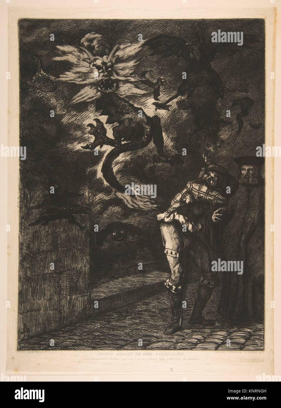 Panurge sortant de chez Rominagrobis. Artist: Félix Bracquemond (French, Paris 1833-1914 Sèvres); Publisher: - Stock Image