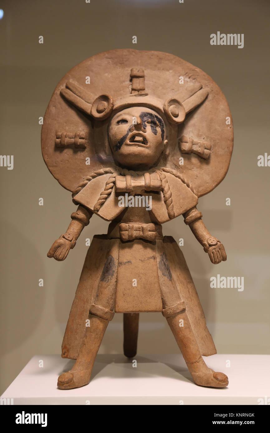 Mesoamerica. Male figure. Veracruz. Gulf of Mexico. 300-900 BC. Mexico. Museum of Cutures of the World. Barcelona. - Stock Image