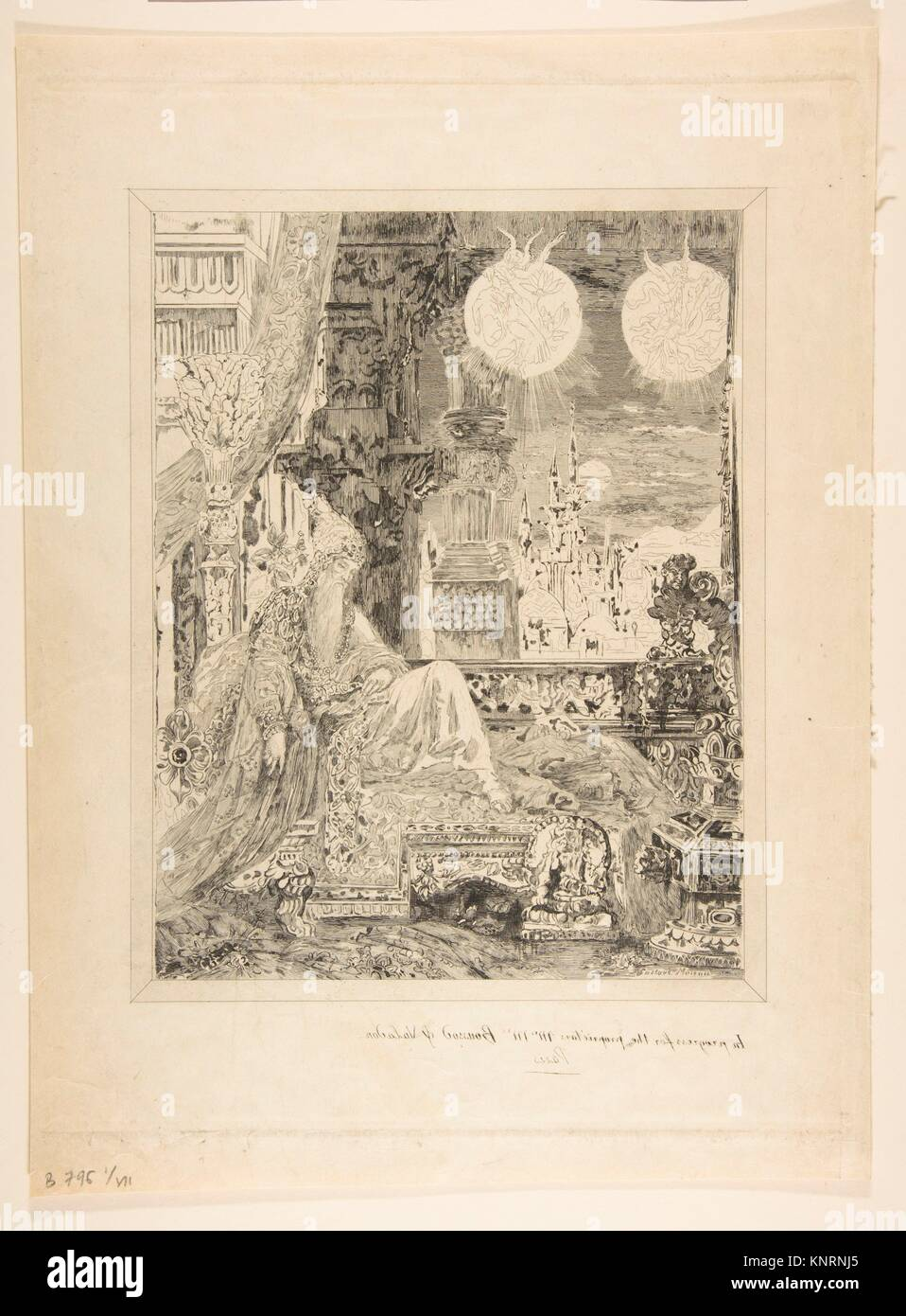 The Dream of an Inhabitant of Mongolia (La Fontaine Fables, Book XI, Fable IV), after Moreau. Artist: Félix - Stock Image