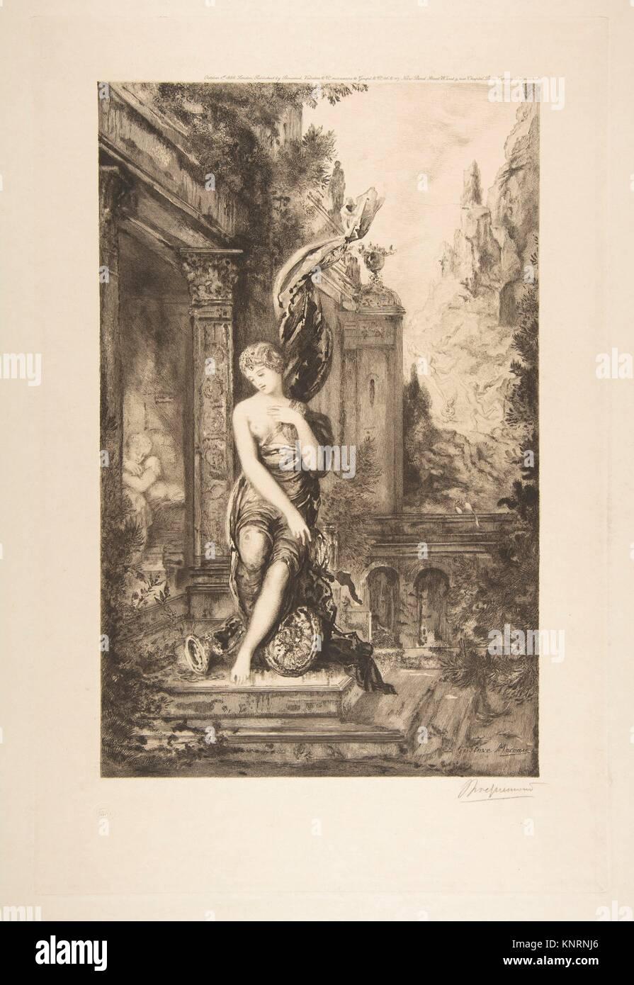 L'Homme qui court après la Fortune et celui qui l'attend dans son lit, after Gustave Moreau. Artist: - Stock Image