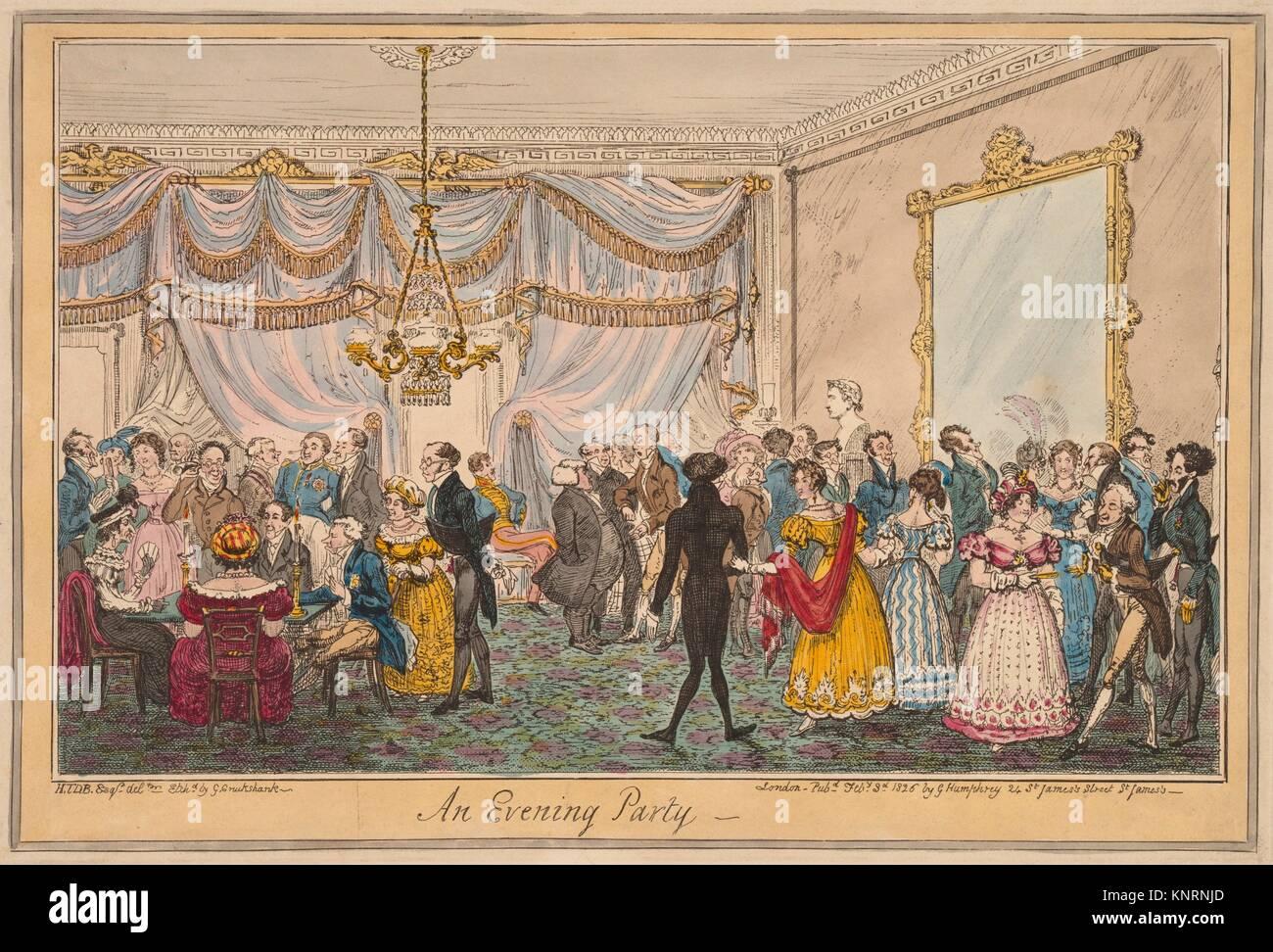 An Evening Party. Artist: George Cruikshank (British, London 1792-1878 London); Artist: After H.T.D.B. (British, Stock Photo