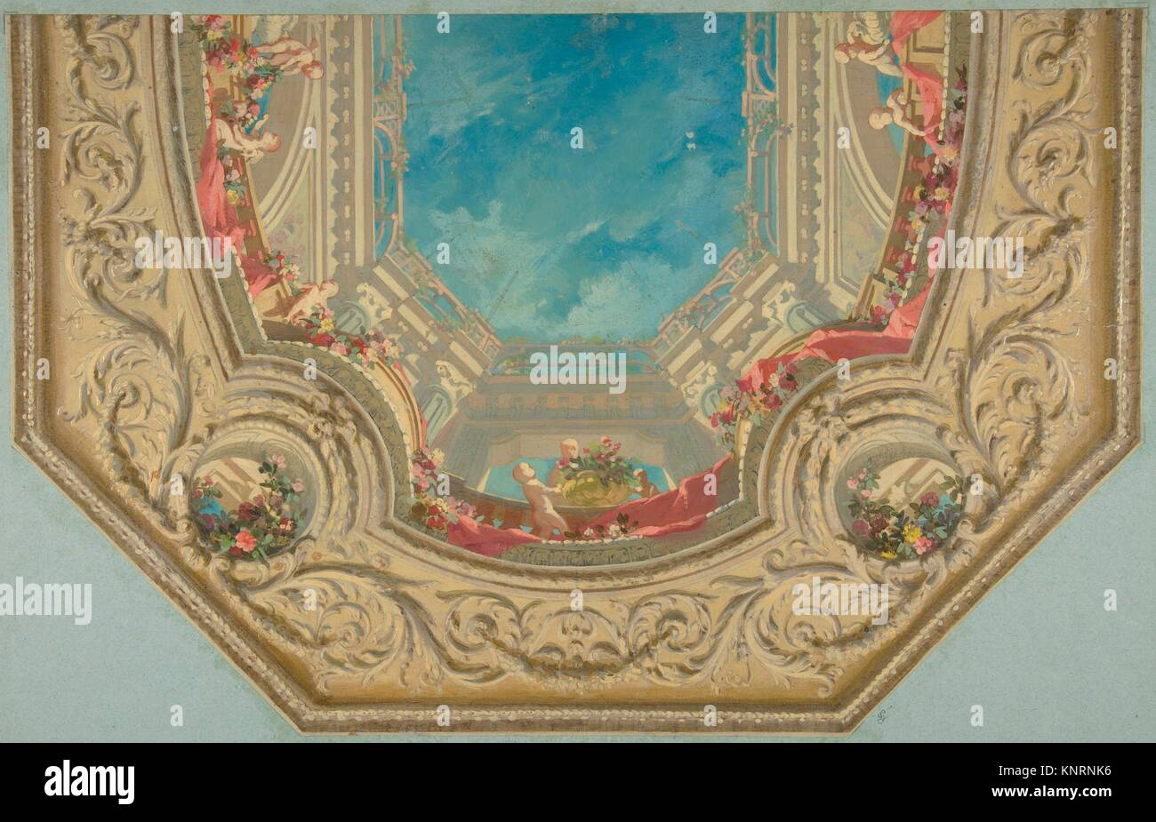 Design for Octagonal Ceiling in the Pless House, Berlin. Artist: Jules-Edmond-Charles Lachaise (French, died 1897); - Stock Image
