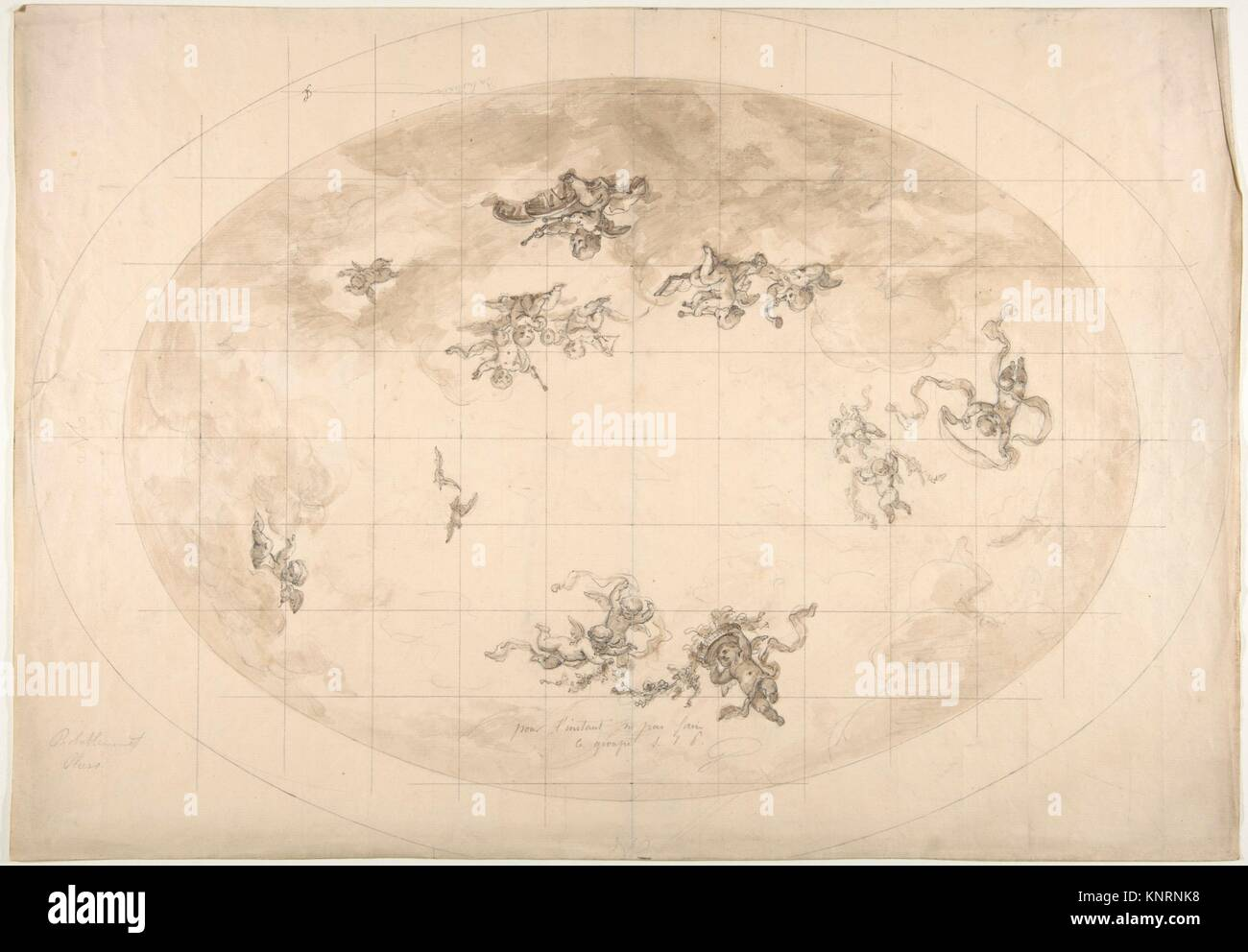Design for an Oval Ceiling, probably for Pless Residence. Artist: Jules-Edmond-Charles Lachaise (French, died 1897); - Stock Image