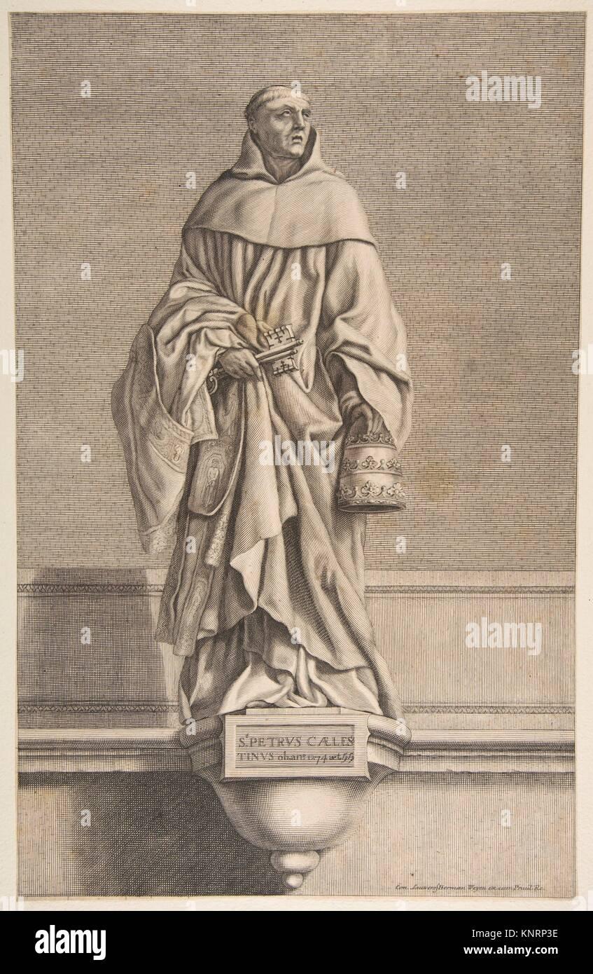 St. Peter Celestine. Artist: Conrad Lauwers (Flemish, Antwerp, 1632-ca. 1685); Artist: After Laurent de La Hyre - Stock Image