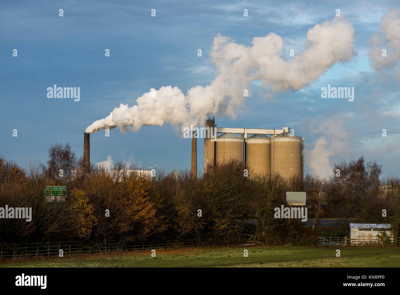 A view of one of the British Sugar Factories at Newark-on-Trent, Nottinghamshire, UK. Image taken from the A46 road - Stock Image