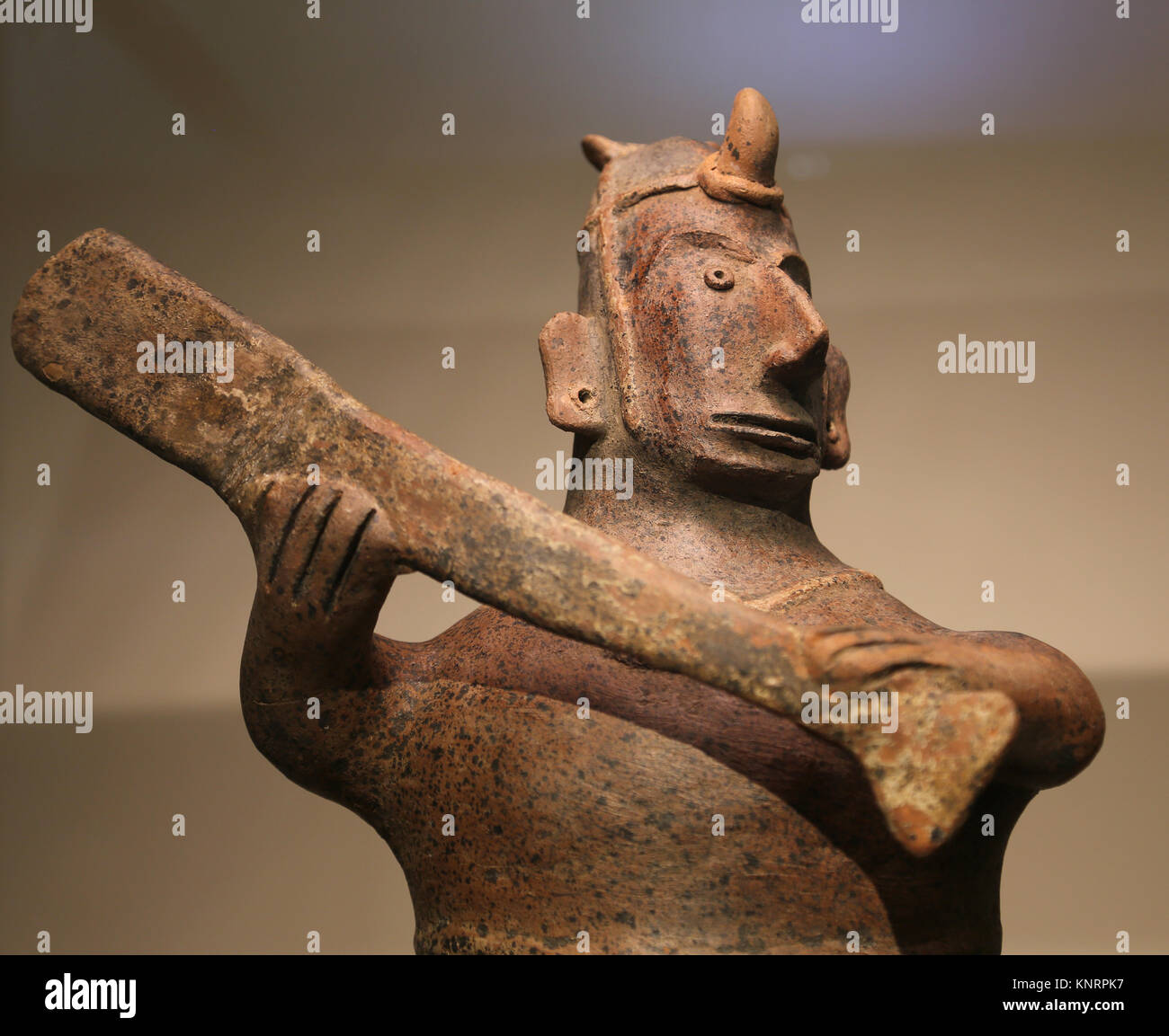 Mesoamerica ballgame. Figure of ballgame player. Colima, Mexico. 200 BC-300 AD. Museum of Cutures of the World. - Stock Image
