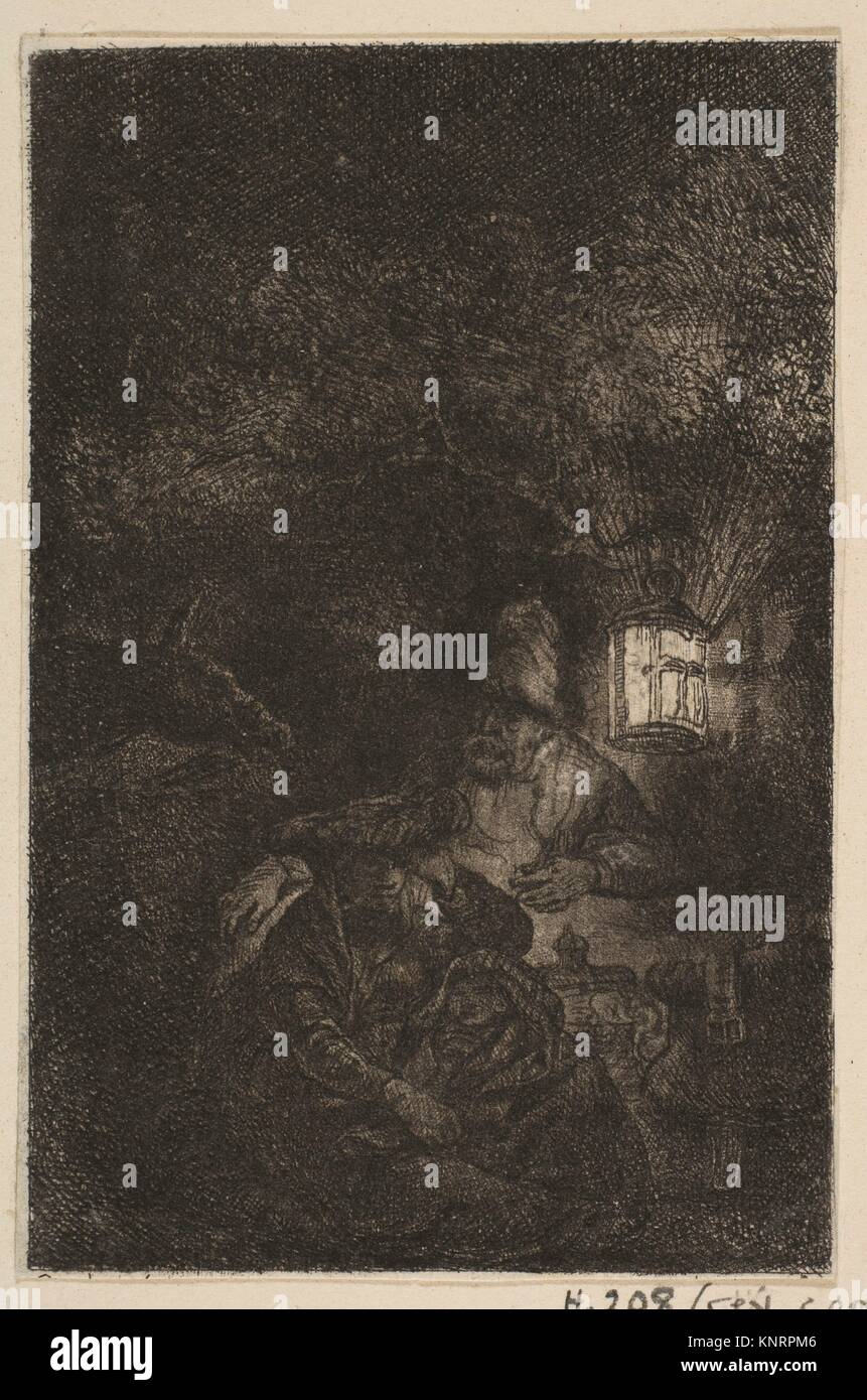 The Rest on the Flight into Egypt: A Night Piece (reverse copy). Artist: Francesco Novelli (Italian, 1764-1836); - Stock Image